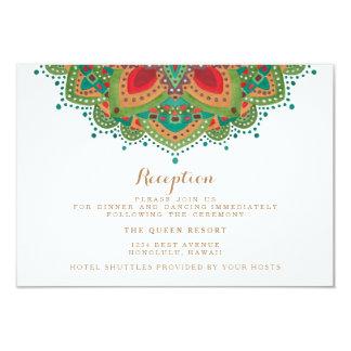 La tarjeta verde de la recepción nupcial de la invitación 8,9 x 12,7 cm