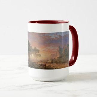 La taza de café americana de la pintura del rastro