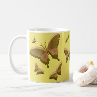 La taza de café de la mariposa, amarillo, moreno