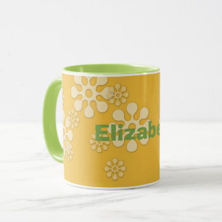 La taza de encargo de la margarita, amarillo,