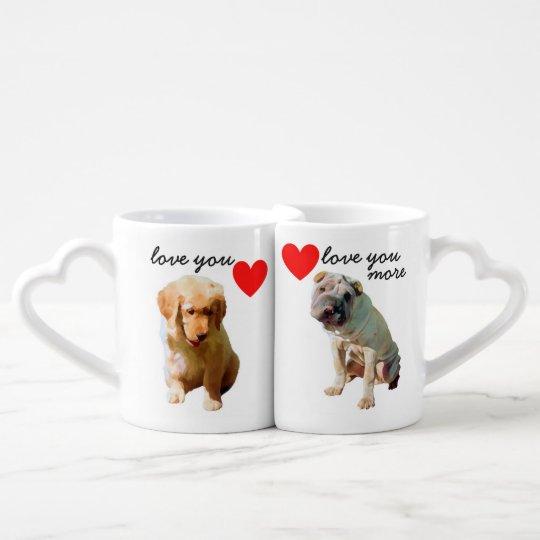 La taza de los amantes fijada - perro con los