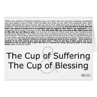 La taza de sufrimiento y la taza de bendición tarjeta de felicitación