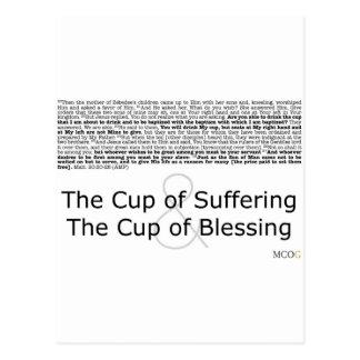 La taza de sufrimiento y la taza de bendición tarjetas postales