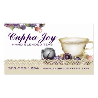 La taza de té del estilo de la acuarela florece tarjetas de visita