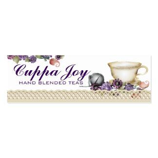 La taza de té del estilo de la acuarela florece tarjetas de visita mini