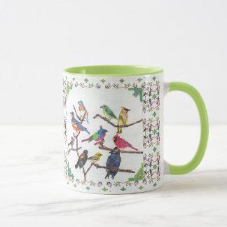 La taza modelada pájaros cantantes coloridos de la