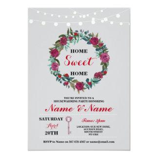 La tecla HOME dulce del nuevo estreno de una casa Invitación 12,7 X 17,8 Cm