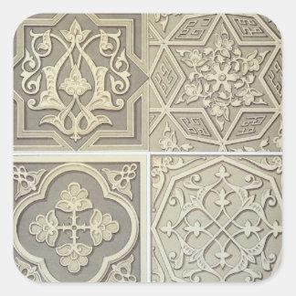 La teja árabe diseña (el litho del color) pegatina cuadrada
