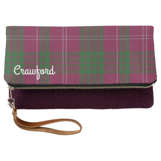 La tela escocesa del clan de Crawford pliega el Clutch