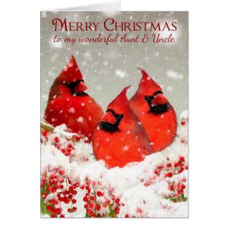 La tía y el tío, aceite pintaron a cardenales tarjeta de felicitación
