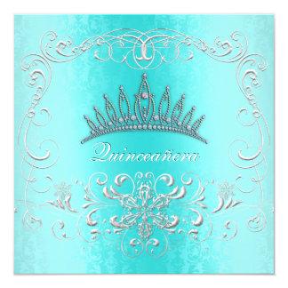 La tiara del diamante de Quinceanera del damasco Invitación 13,3 Cm X 13,3cm