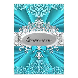 La tiara y el damasco Quinceanera del trullo Invitación 8,9 X 12,7 Cm
