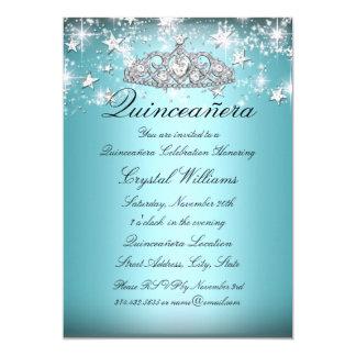 La tiara y las estrellas azules Quinceanera de la Invitación 12,7 X 17,8 Cm