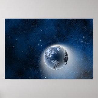 La tierra en espacio póster