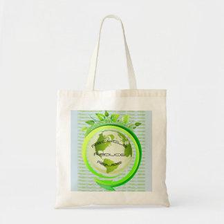 La tierra recicla reduce la bolsa de asas de la