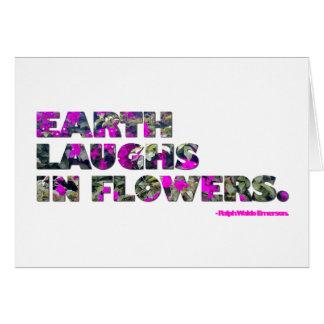 La tierra ríe en flores. Cita de Ralph Waldo Tarjeta Pequeña