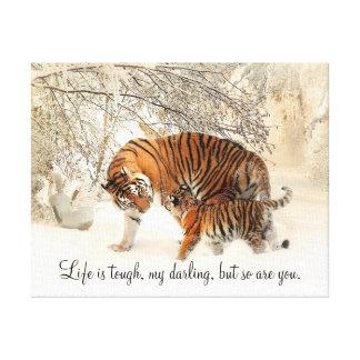 """La tigresa y Cub """"vida es duros, mi querido… """" Lienzo"""