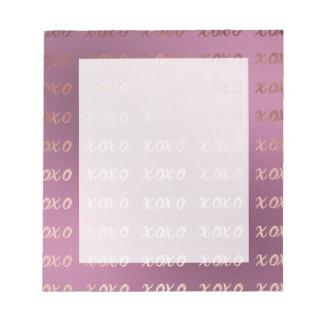 la tipografía color de rosa de la hoja de oro bloc de notas