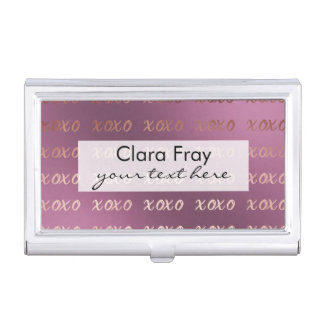 la tipografía color de rosa de la hoja de oro cajas de tarjetas de negocios