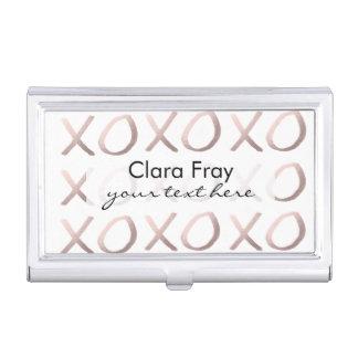 la tipografía color de rosa de la hoja de oro cajas de tarjetas de presentación
