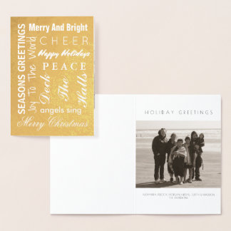 La tipografía del navidad del oro del día de tarjeta con relieve metalizado