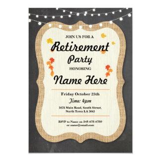 La tiza jubilada rústica del fiesta de retiro de invitación 12,7 x 17,8 cm