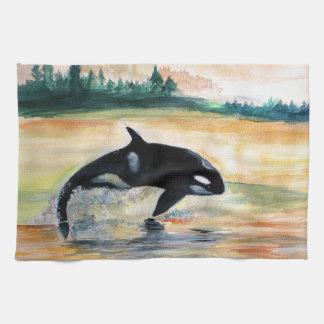 La toalla de té de salto de la orca de la ballena