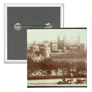 La torre de Londres (foto de la sepia) Chapa Cuadrada 5 Cm