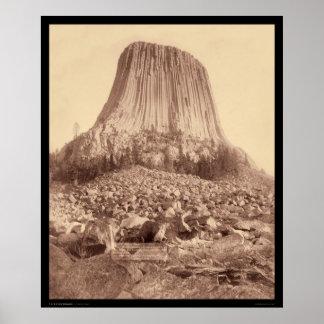 La torre del diablo del lado oeste WY 1890 Póster