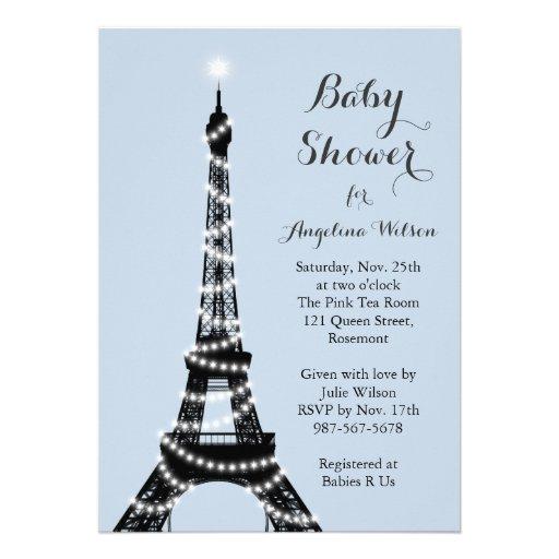 La torre Eiffel centellea invitación de la fiesta