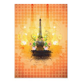 La torre Eiffel con las flores Invitación 12,7 X 17,8 Cm