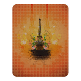 La torre Eiffel con las flores Invitación 10,8 X 13,9 Cm