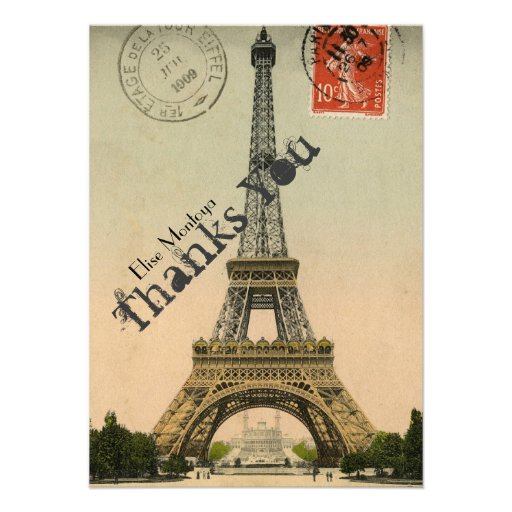 La torre Eiffel de París del vintage personalizada Comunicado Personal