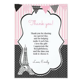 La torre Eiffel de París le agradece cardar Invitación 12,7 X 17,8 Cm