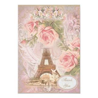 La torre Eiffel elegante lamentable le agradece Invitación 8,9 X 12,7 Cm