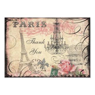 La torre Eiffel elegante y la lámpara le agradecen Invitación 8,9 X 12,7 Cm