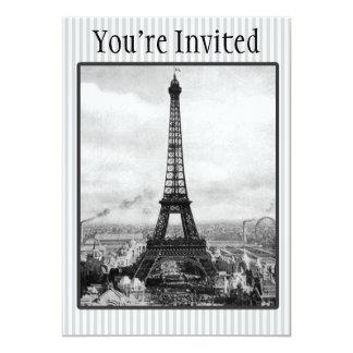 La torre Eiffel en París rayó el vintage Invitación 12,7 X 17,8 Cm
