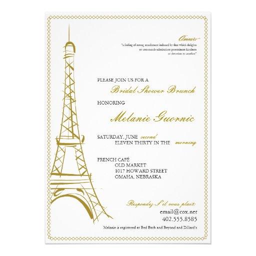 La torre Eiffel invita Invitacion Personalizada