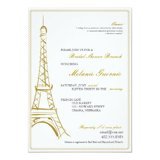 La torre Eiffel invita Invitación 12,7 X 17,8 Cm