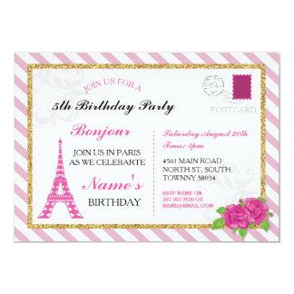 La torre Eiffel rosada de Francia de la postal de Invitación 12,7 X 17,8 Cm