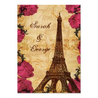 La torre Eiffel rosada París del vintage le Invitación 12,7 X 17,8 Cm