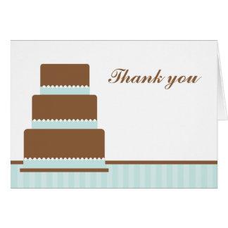 La torta de cumpleaños verde le agradece las notas tarjeta pequeña