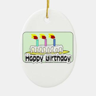 La torta de los globos de la fiesta de cumpleaños adorno ovalado de cerámica