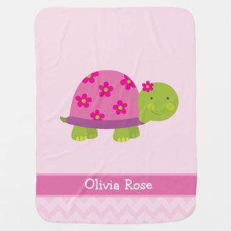 La tortuga linda personalizó escondido para los mantas de bebé