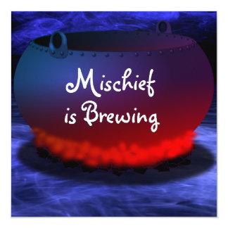 """La """"travesura está elaborando cerveza"""" la invitación 13,3 cm x 13,3cm"""