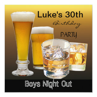 La trigésima fiesta de cumpleaños de los hombres invitación 13,3 cm x 13,3cm