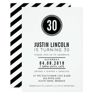 La trigésima fiesta de cumpleaños MODERNA INVITA a Invitación 12,7 X 17,8 Cm