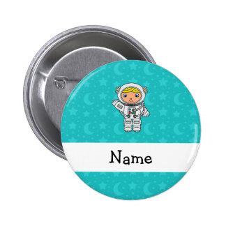La turquesa conocida personalizada del astronauta chapa redonda de 5 cm