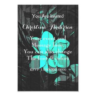 La turquesa fluorescente florece la madera invitación 8,9 x 12,7 cm