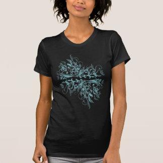 La turquesa retra elegante florece remolinos camisetas
